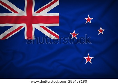 New Zealand flag on the fabric texture background,Vintage style - stock photo