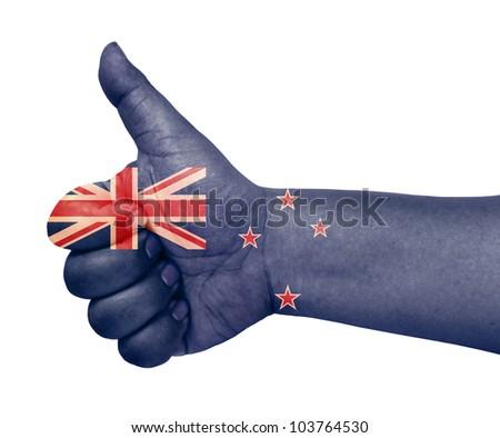 New Zealand flag on thumb up gesture like icon on white background - stock photo