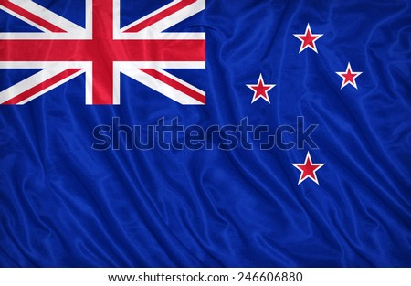 New Zealand flag pattern on the fabric texture , vintage style - stock photo