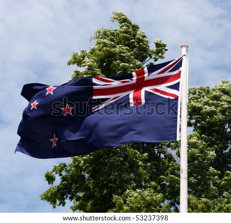 New Zealand Flag waving - stock photo