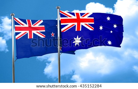 New zealand flag with Australia flag, 3D rendering