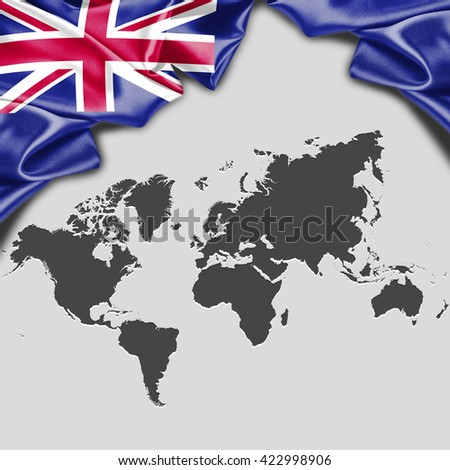 New zealand flag world map waving stock illustration 422998906 new zealand flag with world map waving flag with typography gumiabroncs