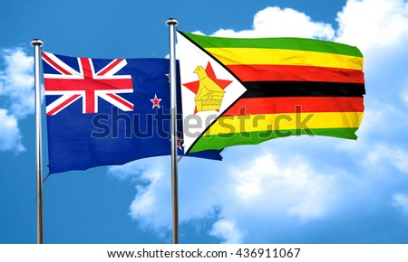 New zealand flag with Zimbabwe flag, 3D rendering
