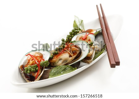 New Zealand green mussels  thai food style - stock photo