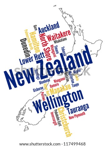 New Zealand map and words cloud with larger cities; eps vector version also available - stock photo