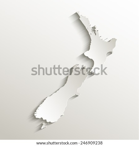 New Zealand map card paper 3D natural raster - stock photo