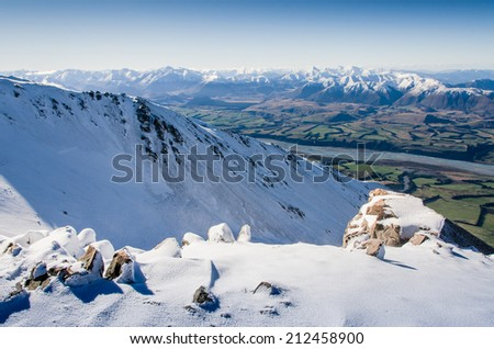 new zealand mountains viewed from ski resort - stock photo
