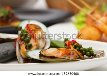 New Zealand mussels. - stock photo