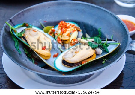 New Zealand mussels Steam - stock photo