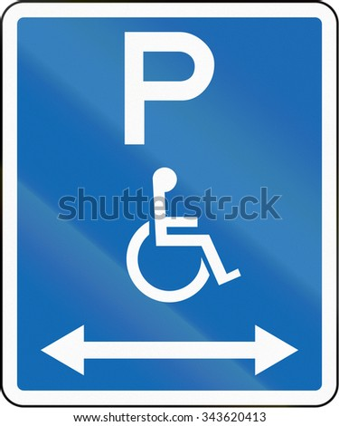 New Zealand road sign - Parking zone reserved for disabled persons with no time limit, on both sides of this sign.