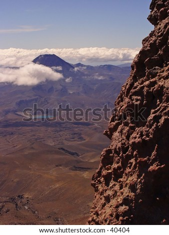 New Zealand rough mountain with volcano - stock photo