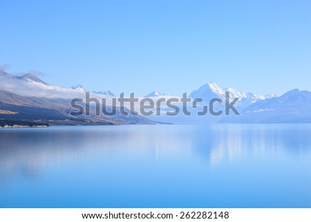 New Zealand's highest mountain, Mount Cook, seen from the bank of Lake Pukaki - stock photo