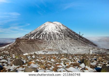 New Zealand's Mt Ngauruhoe volcano. Photographed along the Tongariro track. - stock photo