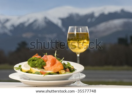 New Zealand salmon meal - stock photo