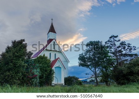New Zealand small countryside town church.
