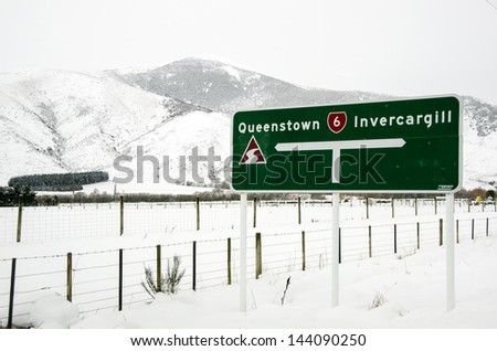 New Zealand winter landscape - stock photo