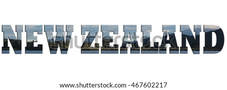 NEW ZEALAND wording with landscape background. Suitable for banner.