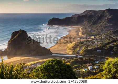 New Zealnd Piha Beach - stock photo