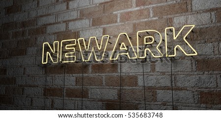 NEWARK - Glowing Neon Sign on stonework wall - 3D rendered royalty free stock illustration.  Can be used for online banner ads and direct mailers.