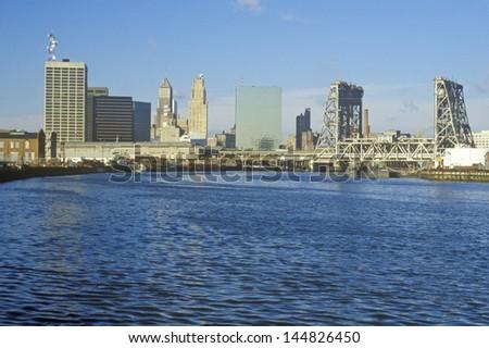 Newark, NJ skyline from the river - stock photo