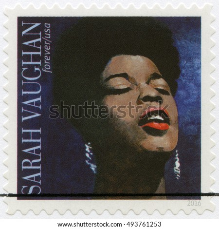 NEWARK, USA - MARCH 29, 2016: A stamp printed in USA shows Sarah Lois Vaughan (1924-1990), American jazz singer