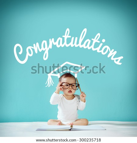 "Newborn and blackboard with ""congratulation"" on background, School concept - stock photo"