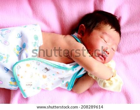 newborn baby Aged 2 Days sleeping - stock photo