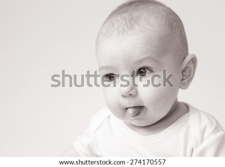 Newborn baby black and white portrait