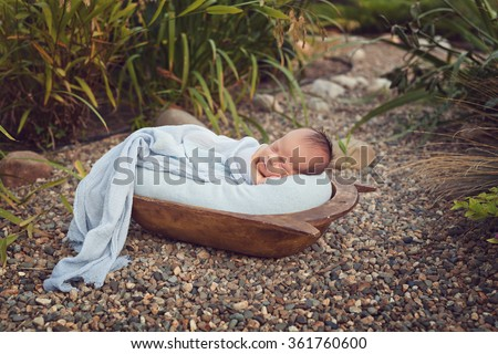 Newborn baby boy outdoor