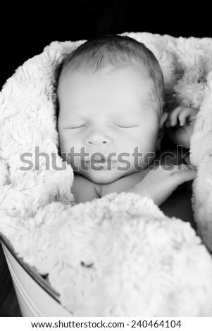 Newborn baby boy wrapped in warm blue blankets - stock photo