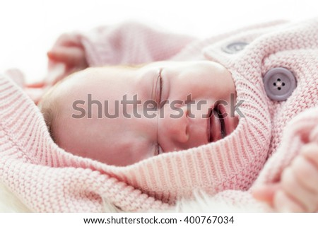 Newborn baby crying, scream face expression. White background - stock photo