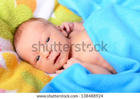 newborn baby, cute infant in bed