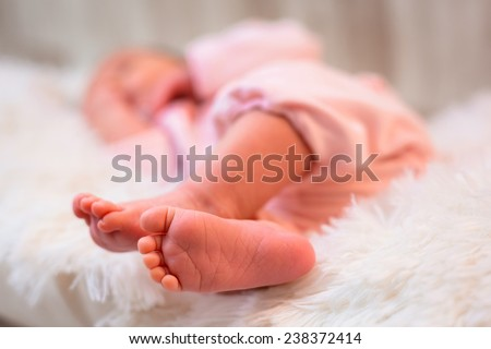 Newborn baby feet close up - stock photo