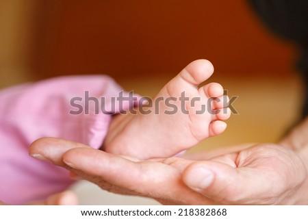 Newborn baby feet in mother hands.Masseur massaging little baby's foot, shallow focus. Newborn baby feet in mother's hands.Mother making massage of child's foot - stock photo
