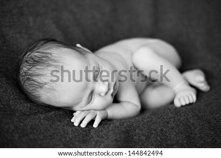 Newborn baby girl black-white image