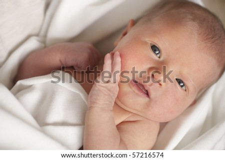 Newborn baby girl looking directly at camera. Focus on eyes.