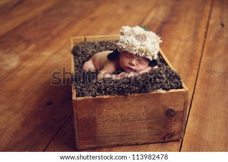 Newborn baby in a box - stock photo