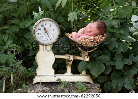 Newborn baby in a scale. outside - stock photo