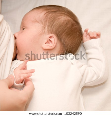 Newborn baby is breast-feeding closeup. Girl wearing in a white body, ready for your logo or symbol. - stock photo