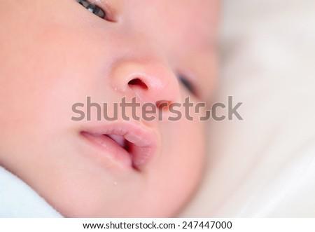 newborn baby lip - stock photo