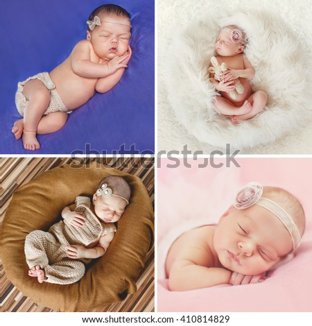 Newborn baby peacefully sleeping little newborn baby few days sleeps baby girl