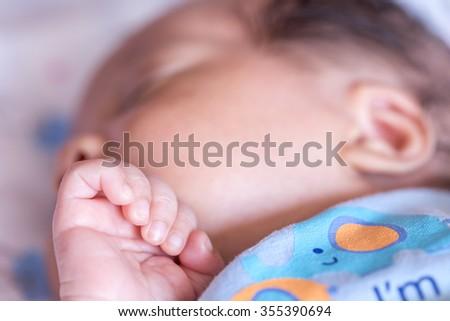 newborn baby sleeping - stock photo