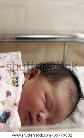 newborn baby sleeping - stock photo