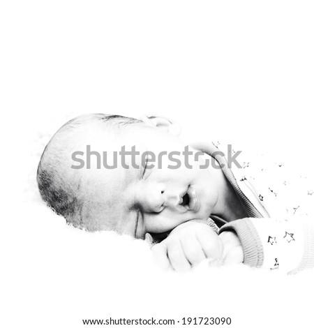 Newborn baby sleeping. Black and white high key portrait - stock photo
