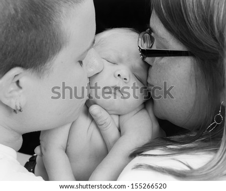 Newborn baby sleeping in the blanket - stock photo