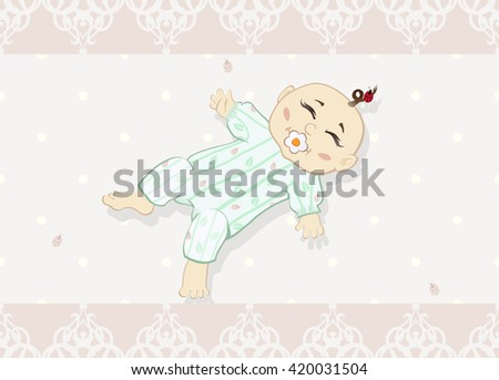 Newborn baby. The illustration of the Newborn baby with Pacifier - Design Greeting Card, Invitation.  - stock photo