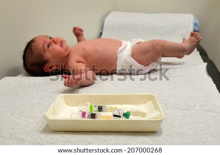 Newborn baby vaccination. Concept photo child healthcare. copyspace - stock photo