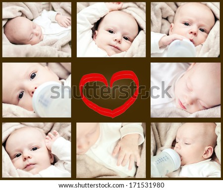 newborn collage - stock photo