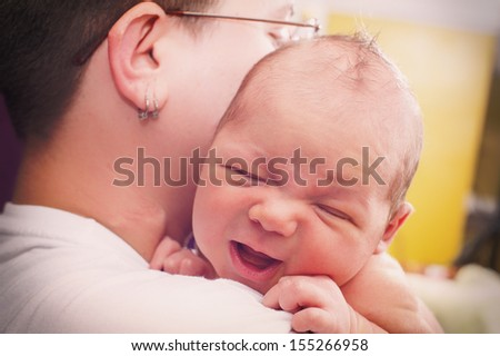 Newborn crying - stock photo
