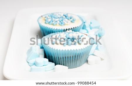 newborn cupcakes on a plate - stock photo
